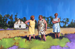Art - Oil Painting of Three Sisters on Canadian Farm by Canadian Artist Randy Hryhorczuk
