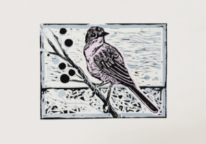 Lino cut bird art print