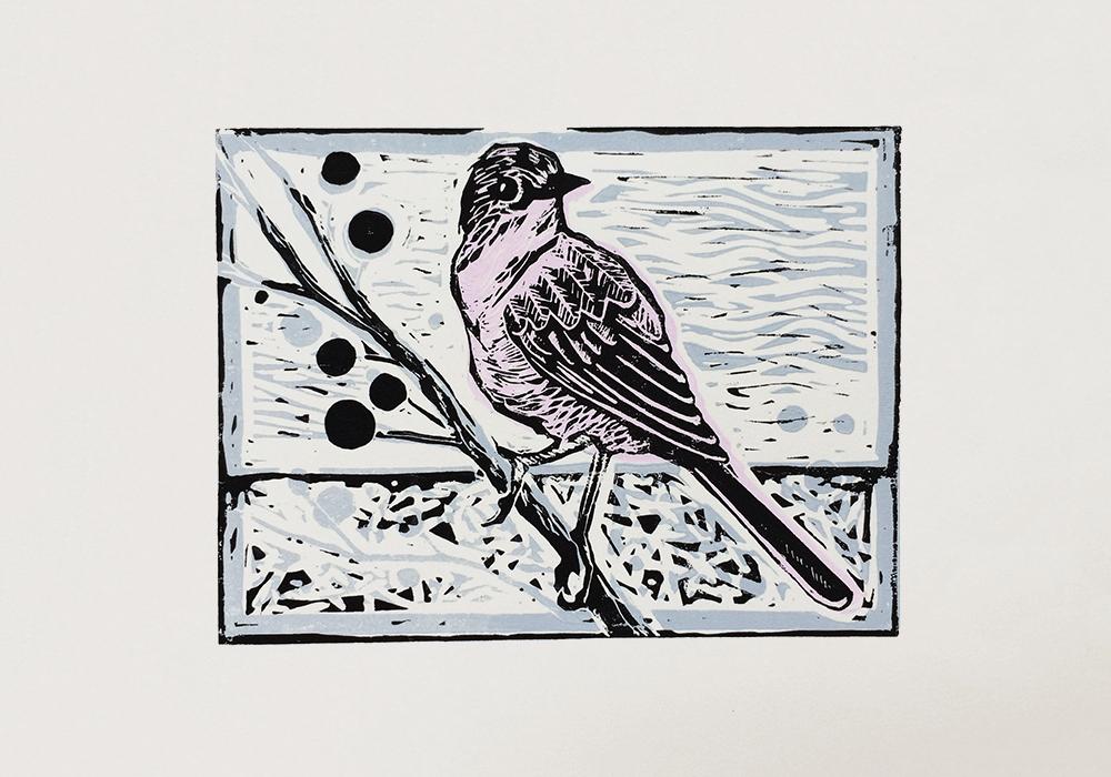 Hand Made Lino cut bird art print