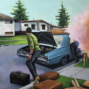 Urban Landscape Painting - Traveller unpacking classic car